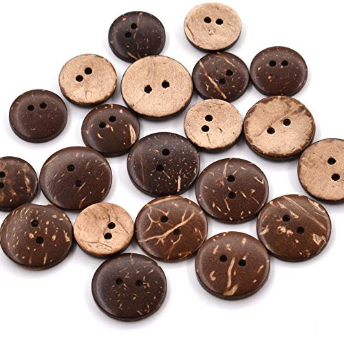 SmartRing 200pcs Botones de 3/4 Pulgadas (20 mm) Conchas de Coco Marrón 2 Agujeros de Costura Botones de Arte