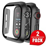 Tauri 2 Pack Hard Case for Apple Watch Series 3/2/1 42mm Built in 9H Tempered Glass Screen Protector, Slim Bumper, Touch Sensitive, Scratch-Resistant Full Protective Cover for iWatch 42mm - Black