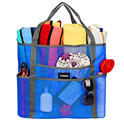 Mesh Beach Bag Toy Tote Bag Grocery Storage Net Bag Oversized Big XL with Pockets Foldable Lightweight for Family Pool Blue Color