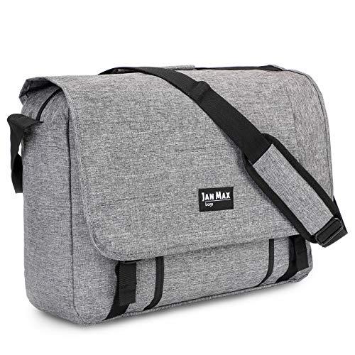 Jan Max Laptoptasche 15.6 Zoll, Aktentasche für Damen und Herren, Notebook Tasche auch passend für 13, 14, 15 Zoll Notebooks, grau