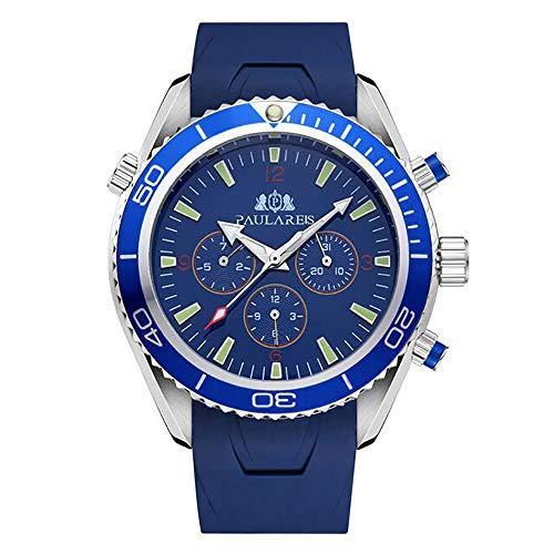Reloj Automático Joven con Correa de Caucho ultracómoda para Hombre (Azul)