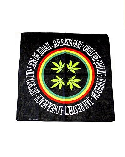 Bandana/foulard Noir avec cercle Rasta & feuille rastafari, de Zac's Alter Ego
