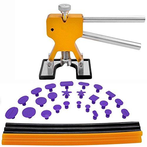 GLISTON Dent Puller Tools, 31pcs Paintless Dent Repair Tools Kit Paintless Dent Removal Golden Dent Lifter + paintless Glue Sticks + Glue Tabs Auto Body Dent Removal Tools Car Dent Removal Tool Kit
