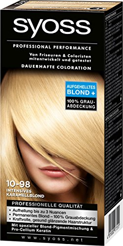Syoss Professional Performance Coloration, 10-98 Intensives Karamellblond, 3er Pack (3 x 115 ml)