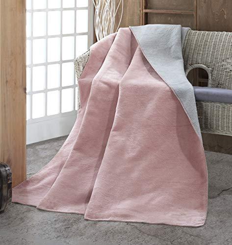 sei Design Plaid | Kuscheldecke | Wohndecke | Flauschig weich, 150 x 200 cm (Bicolore Rose-Grey)