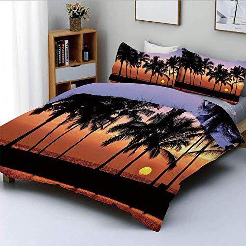 Duvet Cover Set,Hawaiian Sunset on Big Island Anaehoomalu Bay Tropic Horizon Ocean Romantic Resort DecorativeDecorative 3 Piece Bedding Set with 2 Pillow Sham,Best Gift for Ki