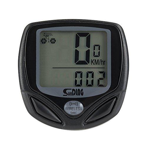 WOTOW Computadora sin hilos de la bici, exhibición digital grande del LCD con luz de fondo impermeable de la bicicleta ciclismo de la bici del velocímetro datos sensibles de la grabación función del odómetro del multi-ciclo, Regalo de Navidad