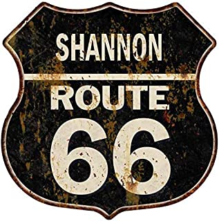 Shannon Route 66 Personalized Shield Metal Sign Man Cave 14.5 x 14.5 Matte Finish Metal 115150004440