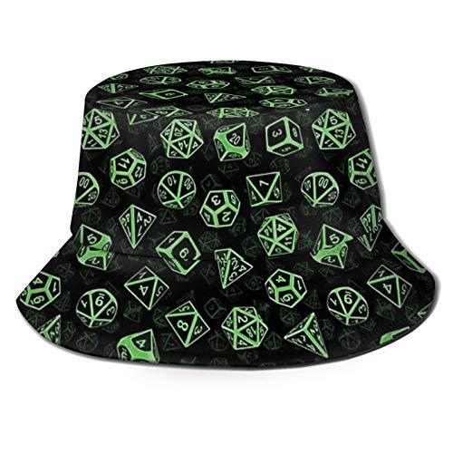 popluck D20 Juego de dados (verde), unisex, sombrero de pescador, sombrero de pescador, sombrero de sol, plegable, impresión 3D, sombrero de playa al aire libre