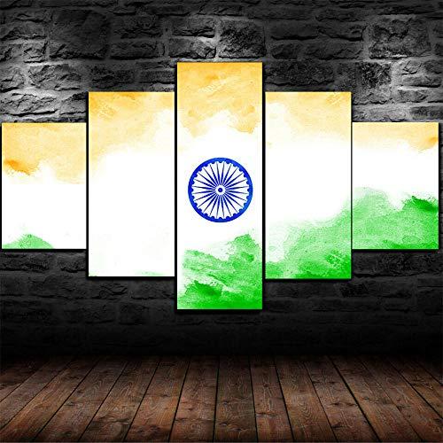 MMSY 5 Stück Leinwand Malerei Flagge von Indien Kreatives Design Wandkunst Leinwand Druck Wandbild Home Decoration(Mit Holzrahmen60 W x32 H)