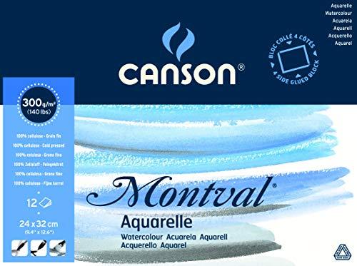 Canson Montval - Bloc papel de acuarela (300 gsm, 24 x 32 cm, 12 hojas), color blanco natural