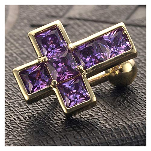 HLWJ Pink Purple Cubic Zirconia Belly Button Perforated Body Jewelry (Color : Purple)