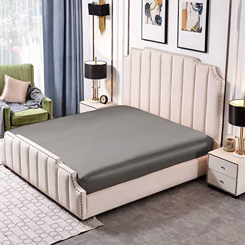 THXSILK 25 Momme Spannbettlaken Seide Bettlaken, 100% Maulbeerseide Bettwäsche Spannbetttuch, Leichter Kaffee Seiden Bettlaken für Standardmatratze, 180x200+30cm, Holzkohle