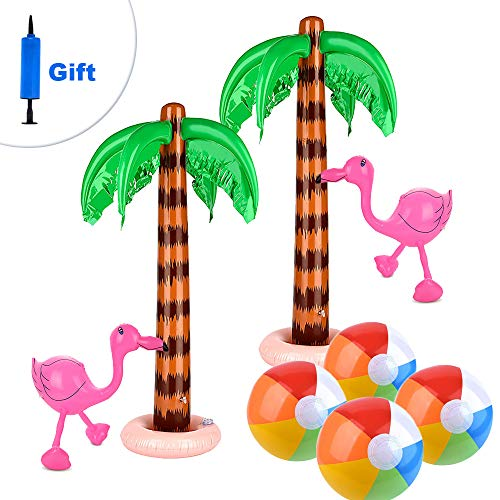 ATROPOS Set of 8 Inflatable Palm Trees Flamingos Toys Beach Inflatable Colorful Beach Balls for Hawaiian Luau Summer Party Decoration