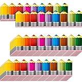 60 Pieces Pencils Borders Decoration Pencils Bulletin Board Border Pencils Bulletin Border Colored Pencils Die-Cut Border Trim Self-Adhesive Labels for Birthday Back to School Party Supplies