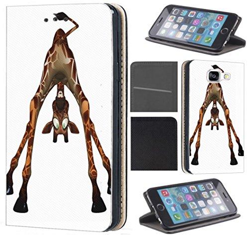 CoverHeld Hülle für Nokia 7.1 Handyhülle Design 1454 Giraffe lustige Braun Cartoon aus Kunstleder Schutzhülle Flipcover Beidseitig Handy Case Hülle für Nokia 7.1