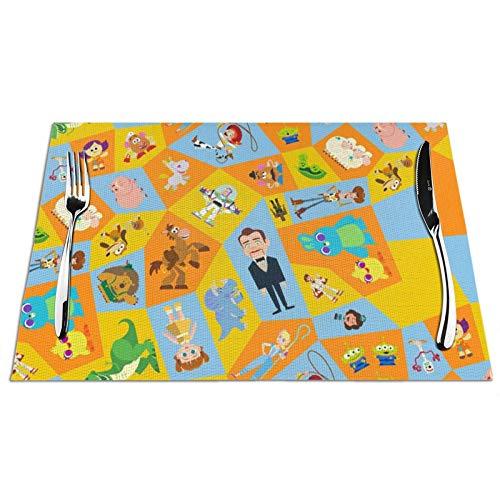 Nueey Group-Ruz-Toy Story - Manteles individuales para decoración de mesa de comedor, cuadrados con PVC resistente a las manchas, juego de 6 unidades, color negro