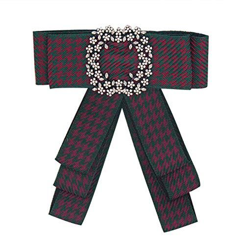 ZSCRL Europäische und amerikanische Spitzenkleidung, mehrschichtige Schleifenbrosche mit Diamanten, Damenbrosche, 13,5 * 12 cm dunkelrot