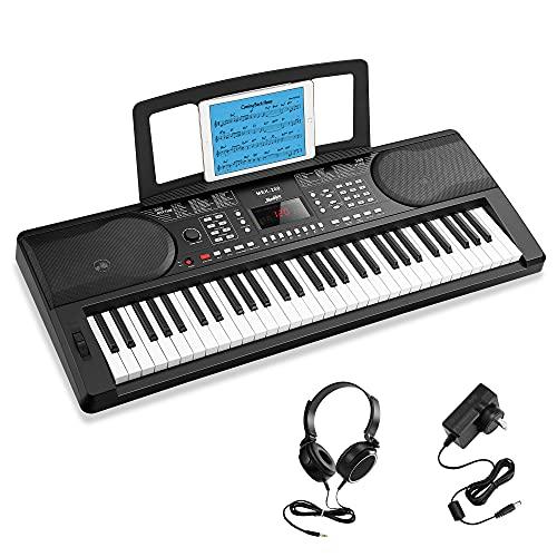 Moukey 61 Tasti per Principianti, Tastiera di Pianoforte Digitale con Supporto per Pianoforte Elettrico, Display a LED, 300 Ritmi, 300 Toni, 50 Demo e Modalità di Apprendimento per Bambini, MEK-200