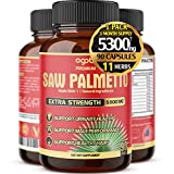 Premium Saw Palmetto Capsules - Equivalent To 5300mg Combined With Ashwagandha, Turmeric, Tribulus, Maca, Green Tea, Ginger, Holy Basil & More - Natural Prostate Support - 90 Caps 3-Month Supply