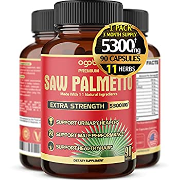 Premium Saw Palmetto Capsules - Equivalent To 5300mg Combined With Ashwagandha Turmeric Tribulus Maca Green Tea Ginger Holy Basil & More - Natural Prostate Support - 90 Caps 3-Month Supply