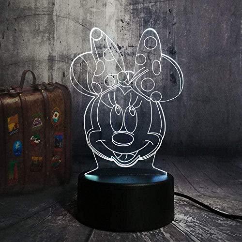 Lámpara de ilusión 3D LED 3D para niños, luz nocturna de Minnie Lámpara de escritorio 7 colores Touch mando a distancia Home Dormitorio USB Bedside Niños Navidad regalo de cumpleaños Minnie Avata