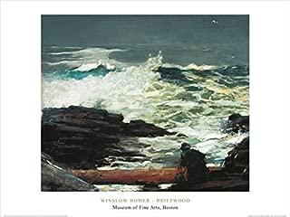 Buyartforless Driftwood, 1909 by Winslow Homer 24x32 Art Print Poster Famous Painting Ocean Coastal Waves Crashing on Rocks