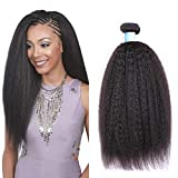 BLY Mongolian Kinky Straight Virgin Human Hair 3 Bundles Weft Yaki Human Hair -8A Unprocessed Natural Black Hair Extensions Weave(16 18 20inches)