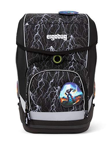 Ergobag cubo SuperReflektBär Glow, Reflex Glow Edition, ergonomischer Schulrucksack, Set 5-teilig, 19 Liter, 1.100 g, Schwarze Blitze