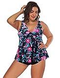 FeelinGirl Conjunto de Bikini Estampado Floral Falda y Braga Talle Medio 2 Piezas Talla Grande para Mujer Floral-Marino XXL(Talla 50-52)