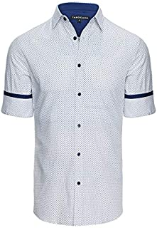 Tarocash Men's Jacobson Print Shirt Cotton Regular Fit Long Sleeve Sizes XS-5XL for Going Out Smart Occasionwear