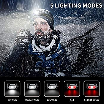 Lampe Frontale LED, 2 Pièces Léger Torche Frontale Rechargeable USB, Torches Frontales Étanche Puissante pour Camping, Escalade, Chasse, Pêche, Course