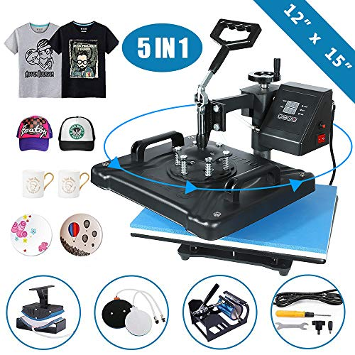 VEVOR Heat Press 12 X 15 Inch Heat Press Machine 5 in 1 Digital Multifunctional Sublimation Swing Away Heat Press Machine for T Shirts Hat Mug Cap Plate Gift T-Shirts and Stickers