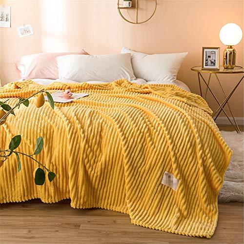 Leichte Flanell Decke, Morbuy Kuscheldecke Sofadecke Bettüberwurf Erhältlich Decke Tagesdecke Decke für Sofa und Bett Falten-beständig Schmusedecke (150x200cm,Gelb)