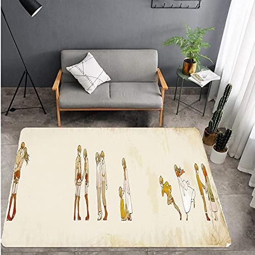 Alfombra de Dibujos Animados Attack on Titan área Antideslizante Rectangular para niños, Sala de Estar, Dormitorio, Alfombra 80 * 120 cm-A_120X200cm
