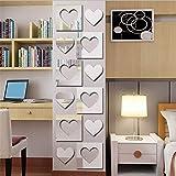 Murales,Pegatinas de Pared,Etiquetas Engomadas Acrílico en forma de corazón espejo combinación pegatinas de pared...