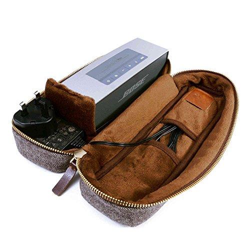 Tuff Luv Bose SoundLink Mini 1/2Tweed Fischgrätmuster Schutzhülle Reise Schutzhülle Tasche und Schutzhülle [einschließlich NFC für die Paarung Bluetooth]–Braun