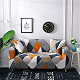 nordmiex Stretch Sofa Slipcovers Fitted Furniture Protector Printed Sofa Cover Stylish Fabric Couch Cover with 2 Pillowcases for 2 Cushion Couch(Loveseat-2 Seater,Geometric)