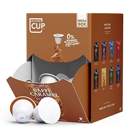 My-CoffeeCup – MEGA-BOX CAFFÈ CARAMEL – BIO-KAFFEE I 100 Kaffeekapseln für Nespresso®*-Kapselmaschinen I 100{b218960a53e86b0c95d69641dc737ff4fae485ff63e09d80bfa87cf1a757047a} industriell kompostierbare Kaffeekapseln – 0{b218960a53e86b0c95d69641dc737ff4fae485ff63e09d80bfa87cf1a757047a} Alu I Nachhaltige Kaffeekapseln