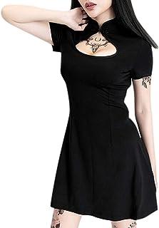 Modaworld Donna Gothic Wind Manica Corta Cheongsam Forcella Abito da Donna Gotico Punk Cinese Cheongsam Harajuku Vestito S...