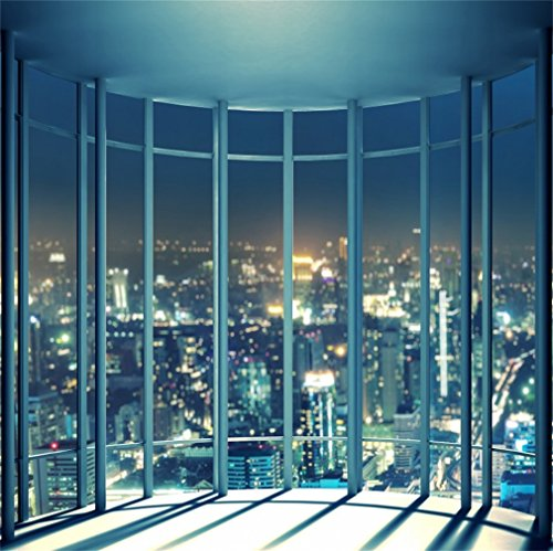 YongFoto 1,5 x 1,5 m foto achtergrond viewing room Frans Windows wolkenkrabber lichtgevende lichten New York City Night View Romantic behang fotografie achtergrond foto party kinderen fotostudio