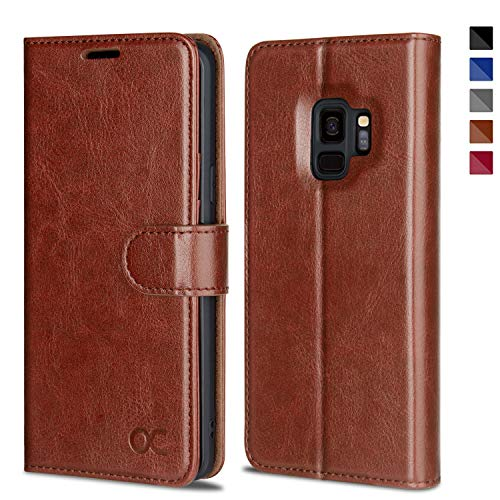 OCASE Samsung Galaxy S9 Case Leather Flip Wallet Case for Samsung Galaxy S9 Devices (Brown)