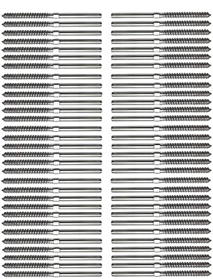 """Senmit Swage Lag Screws Left & Right 60 Pack for 1/8"""" Cable Railing, 316 Stainless Steel Stair Deck Railing Wood Post Balusters System 30 Pairs"""