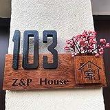LXJ Numeri, Elencati Decorativi, Segni Parete, A Doppia Faccia, Decorativo Indirizzo Parentesi, Numero di Casa in Legno Massello Sottoscrive Licenza in Studio Lista Casa Digitale su Misura