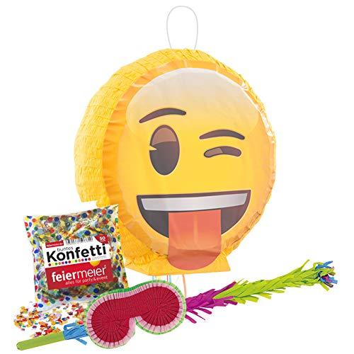 PartyMarty Pinata-Set: Emoji, Schläger + Maske + Konfetti bunt , 50g, für Kindergeburtstag GmbH® Keep Smiling