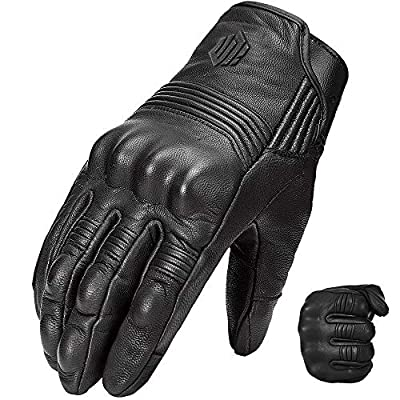 Auboa Goatskin Leather Motorcycle Gloves for Men and Women, Motorbike Powersports Racing Gloves Touchscreen(L, Black Unperforated)