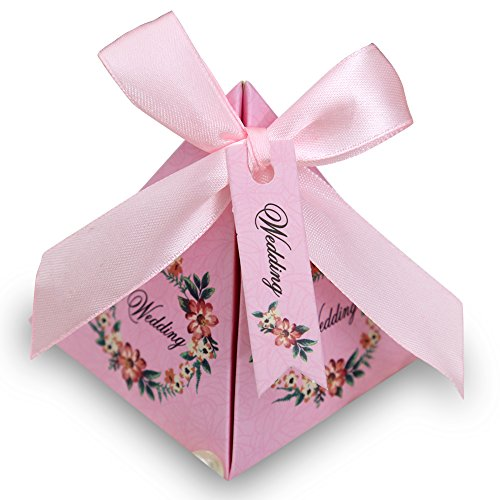 Doris Home 100 pcs Floral Pyramid Wedding Favor Candy Boxes Bridal Shower Party Paper Gift Box with Tag (Pink, 7.2*7.2*8cm)