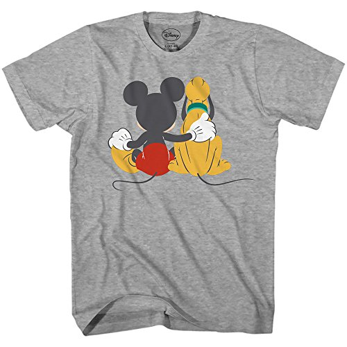 Disney Mickey Mouse & Pluto Back Disneyland World Tee Funny Humor Adult Mens Graphic T-Shirt Apparel (Heather Grey, Medium)