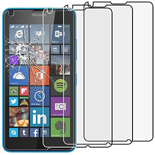 ebestStar - Microsoft Lumia 640 Panzerglas x3 640 LTE Dual Schutzfolie Glas, Schutzglas Bildschirmschutz, Bildschirmschutzfolie 9H gehärtes Glas [Lumia 640: 141.3 x 72.2 x 8.8mm, 5.0'']