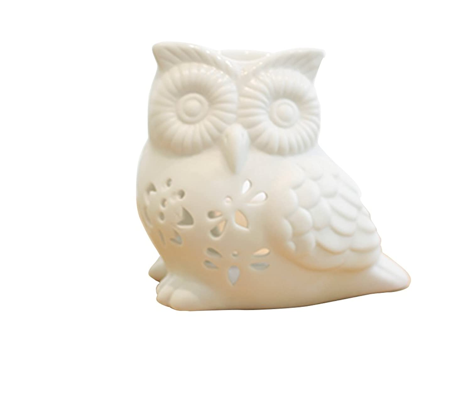 ToiM Milk White Ceramic Hollowing Floral Aroma Lamp Candle Warmers Fragrance Warmer Oil Diffuser Essential Oil Lamp Aromatherapy Furnace Ceramic Incense Burner Wax Melt Warmer (Owl Shaped)